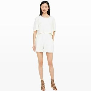 Club Monaco White Linen Short Sleeve Romper 2